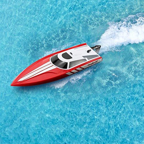 Ferngesteuertes Boot Schnellboot, 2.4G 4 Kanäle 25 MPH RC Boot High Speed für Pools & Seen, Wasserdichtes Rennboot Modellboot Ferngesteuert Boot Spielzeug für Kinder & Erwachsene,Rot