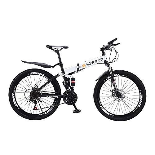Novokart-Bicicletta Sportiva da Montagna, Mountain Bike Pieghevole per Uomini e Donne Adulti, 24 Pollici con Ruota a Raggi,Bianco