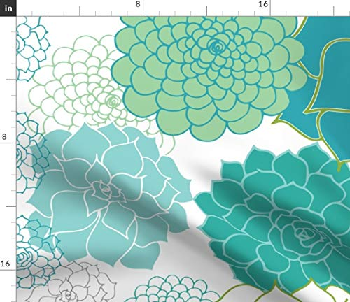 Spoonflower Fabric - Happy Succulents Plants Girls Room Handdrawn Nursery Garden Cactus Printed on Chiffon Fabric by The Yard - Sewing Fashion Apparel Dresses Home Decor
