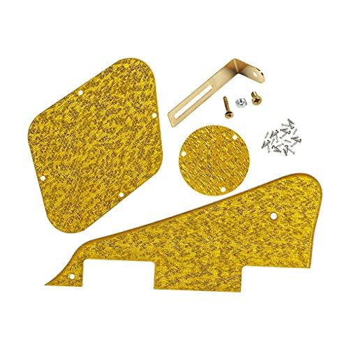 IKN Standard LP Pickguard/Placa posterior de control/Cubierta de la cavidad del interruptor/Soporte dorado/Tornillos de montaje para guitarra Epiphone Les Paul Style, 1 capa dorado brillante