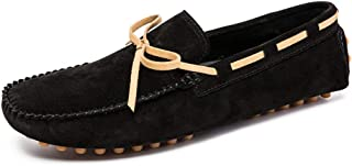 HUANGAIHUA Casual Driving Penny Loafer for Men Slip On Boat Moccasins Suede Leather Stitching Vamp Decor with Bowknot