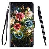 TOUCASA Kompatibel mit Nokia 6.1/6 2018 Hülle, Handyhülle für Nokia 6.1/6 2018,Brieftasche PU Leder Flip [Kreativ Gemalt] Hülle Handytasche Klapphülle für Nokia 6.1/6 2018 (Rosenstrauß)