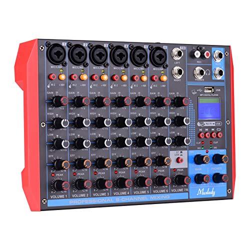 Muslady 8-Kanal Mischpulte Digital Audio Mixer DJ Controller Mischkonsole + 48V Phantomspeisung Unterstützt drahtlose/USB / MP3-Verbindung für Musikaufnahmen DJ Network Live Broadcast Karaoke