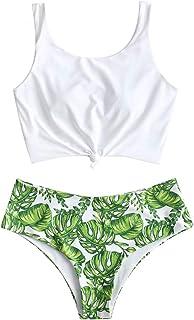 comprar comparacion Zaful - Bikini para mujer acolchado con diseño de hojas tropicales