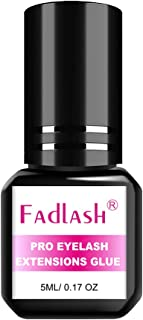 Lash Extension Glue FADLASH Eyelash Extension Glue Black 1-2 Sec Drying Time Extra Strong Hold 5ml Professional Individual Eyelash Glue Sensitive Eyes