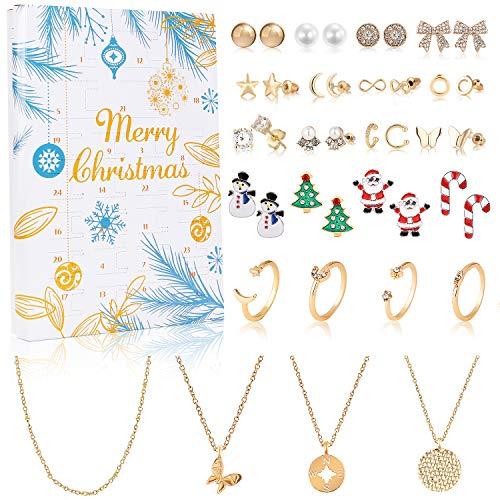 vamei Adventskalender 2020 Frauen Adventskalender Mädchen Weinachtskalender Damen Schmuck Ohrringe Ohrstecker Halskette Ringe, Weihnachten Geschenk für Damen Mädchen