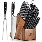 Knife Sets for Kitchen, Acoqoos 17-Piece Kitchen Knife Block Set with Boning Knife and Carving Fork, Manual Sharpening for Chef Knife Set, German Stainless Steel, Full-Tang Design