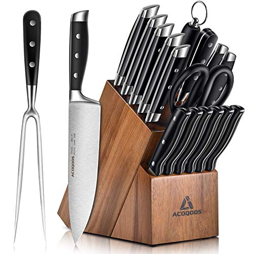 Acoqoos Kitchen Knife Set, 17-Piece Knife Block Set with Boning Knife and Carving Fork, German Stainless Steel, Full-Tang Design