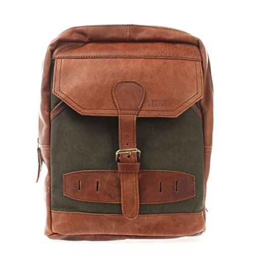 LECONI Crossbag Rucksack aus Canvas & Leder Bodybag für Damen + Herren Umhängetasche im Vintage-Look Retro Crossover-Tasche Unisex 26x34x10cm grün LE1012-C