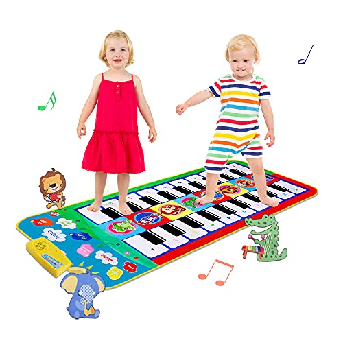 TWFRIC Piano Mat, Kids Music Mats 44''x 20'' Keyboard Play Mat 20 Keys Floor Piano Mat with 8 Instrument Sounds, Educational Toys for 3 4 5 Years Old Boys Girls Toddlers (Double-Way for Playing)