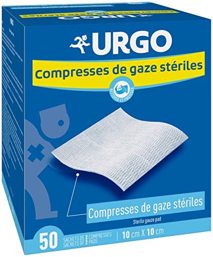 Urgo - Compresses de gaz stériles - Absorption - Boîte de 50 sachets de 2 compresses - 10cm x 10cm