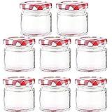 8 Piezas Tarro de Mermelada, Jarra de Vidrio, Mini Tarro de Cristal de Lata Redonda Vacía, Adecuado para Dulces, Mermeladas, Frutas Enlatadas(100ML)