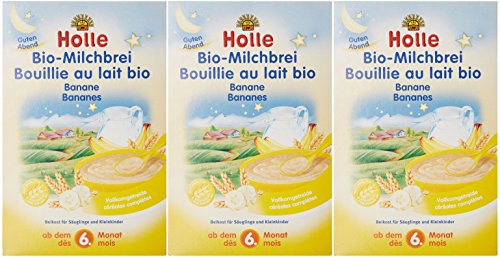 Holle Bouillie au Lait et Bananes Biologique pour bébé 250 g Lot de 3