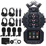 Zoom H8 Eight Track Handy Recorder For Podcasting, Music, Field Recording + 4x Zoom ZDM-1 Podcast Mic + 4x Headphones + 4x Windscreens + 4x Tabletop Stands + Cables + Photo4Less Black Cleaning Cloth