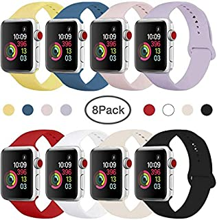 Compatible Band for Apple Watch 38mm 42mm 40mm 44mm, Soft Silicone Sport Strap Replacement Wristband for Apple Watch Series 5 4 3 2 1, Women Men, Small Large (8 Pack) (38mm/40mm S/M.)