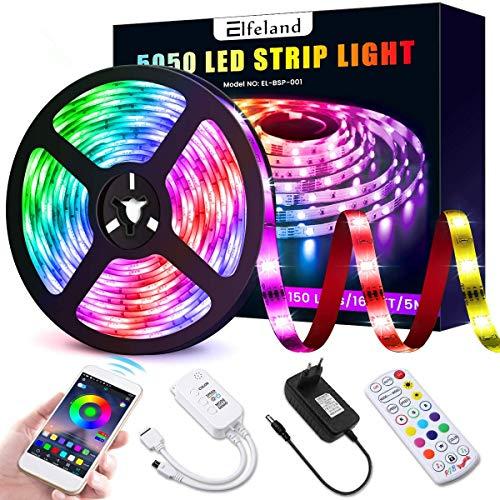 Luces de Tiras LED Bluetooth Elfeland Tiras de Regulables Música Iluminación con 150leds 12V 2A RGB 5M APP Controlada por Teléfono Inteligente Android e IOS Sincronizar con Ritmo de Música