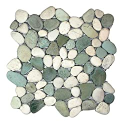 top 10 pebble shower floor Green and white pebble tile pattern