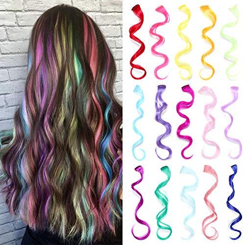 30 Stück Multi Colors Clip in Lockenverlängerungen, Synthetische Long Highlights Hair Pieces Extensions für Kinder, Mädchen und Frauen (15 Farben)