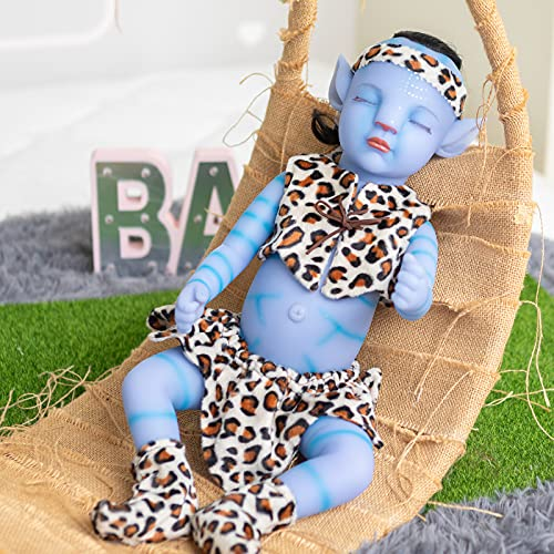 22 inch Alien Realistic Toddler Doll Sleeping Full Silicone Bebe Doll with Hair Realistic...