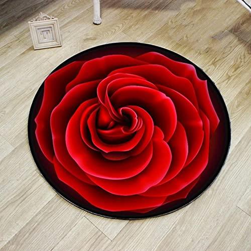 Alfombra Redonda 3D con Estampado De Rosas Rojas, Alfombra Suave, Alfombra Antideslizante, Cojín para Silla De Ordenador, Alfombrilla para El Suelo De La Habitación De Los Niños-60X60Cm