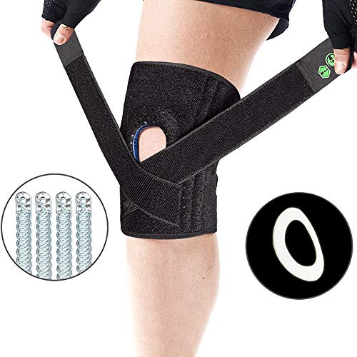 Vech Knee Brace with Side Stabilizers & Patella Gel Pads for Knee Support, Best Compression Sleeve Brace Support for Joint Pain Relief, Injury Recovery with Adjustable Straps for Men & Women, Black