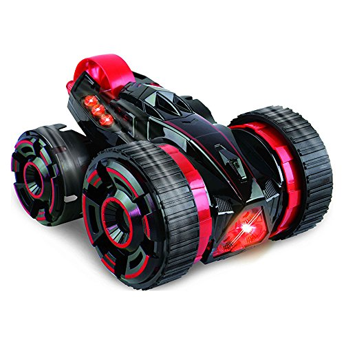 SZJJX Five Wheels Race Stunt Car 2WD Remote Control RC Vehicle with LED Headlights Extreme High Speed 360 Degree Rolling Rotating Rotation Red