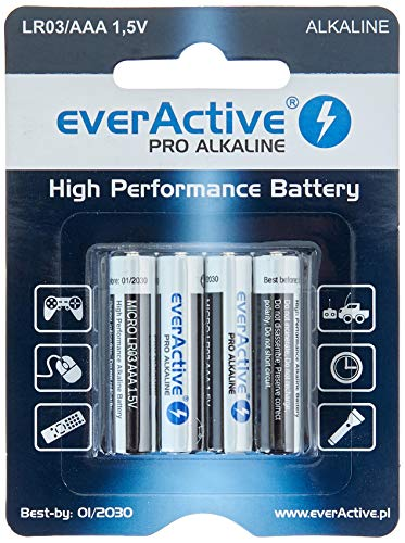 everActive AAA Batterien 48er Pack, Pro Alkaline, Micro LR03 R03 1.5V, höchster Leistung, 10 Jahre Haltbarkeit, 48 Stück – im Blister verpackt
