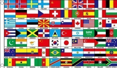 5ft x 3ft (150 x 90 cm) 70 Nations World Countries 100% Polyester Material Flag Banner Ideal For Club School Business Party Decoration Eurovision Olympics World Cup Commonwealth Games by Flag Co
