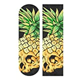 Hupery Skull Pineapple Skateboard Grip Tape Longboard Griptape Waterproof Grip Tape Sheet Sticker Deck Sandpaper Griptape 33.1x 9.1 inch