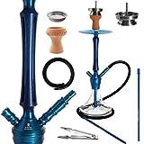 Kaya Elox Lance Capsule Hookah Set - Hookah (67 cm de alto, 2 conexiones, pipa de agua con mango de madera, incluye accesorios), color azul