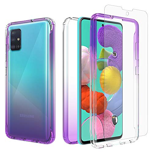 iRunzo 2 in 1 Hybrid Rugged Armor Case for Samsung Galaxy A51 (4G) Soft TPU Back Cover + PC Bumper Transparent Color-Changing 360° Full Body Protect + Screen Protector (Purple)