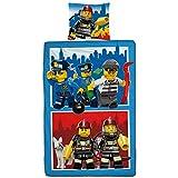 Lego City - Juego de ropa de cama infantil (2 piezas, funda de almohada de 80 x 80 cm y funda nórdica de 135 x 200 cm, 100% algodón), diseño de policía y bomberos