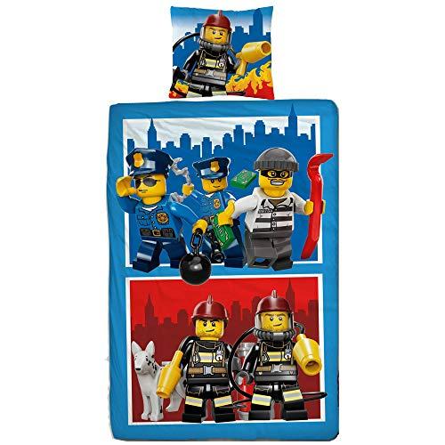 Lego CITY Figuren Set Kinder Jungen Bettwäsche · Kinderbettwäsche · POLIZEI & FEUERWEHR 2 teilig - Kissenbezug 80x80 + Bettbezug 135x200 cm - 100% Baumwolle - deutsche Größe