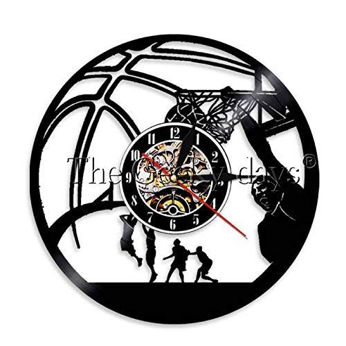 LIMN Relojes de Pared decoración del hogar 1 Pieza Baloncesto Una Mano Slam Dunk Reloj de Disco de Vinilo Jugadores de Baloncesto Luz LED Reloj Decorativo para Sala de Deportes