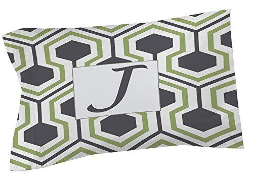 Manual carpinteros y tejedoras almohada Sham, estándar, monograma letra J, gris en forma de panal