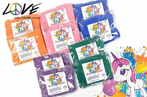 Love Colors EINHORN PULVER - Holi Farb Pulver - Regenbogen-SET (Orange, Pink, Blau, Violett, Grün) wasserlöslich, leicht auswaschbar, antiallergen, Lebensmittelfarben/deutsche Produktion (10 Beutel)