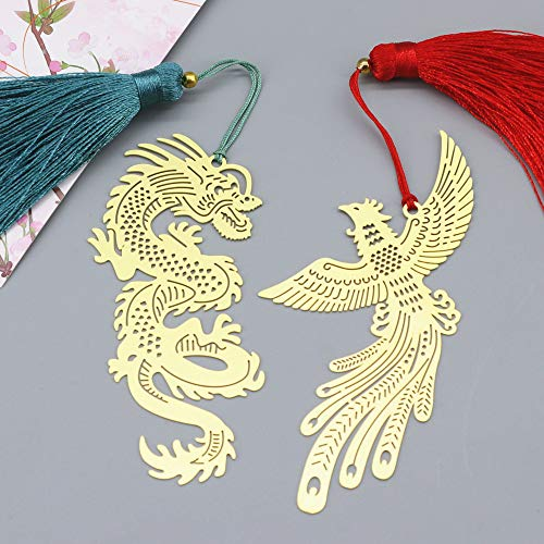 Cwhz Handmade Dragon Phoenix Bookmark 2 Pcs Set with Tassels,Good Luck Brass,Ideal Gift for Friends and Family