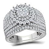 Jewels By Lux - Juego de anillos de compromiso de oro blanco de 14 quilates con diamantes redondos para mujer, 2 unidades