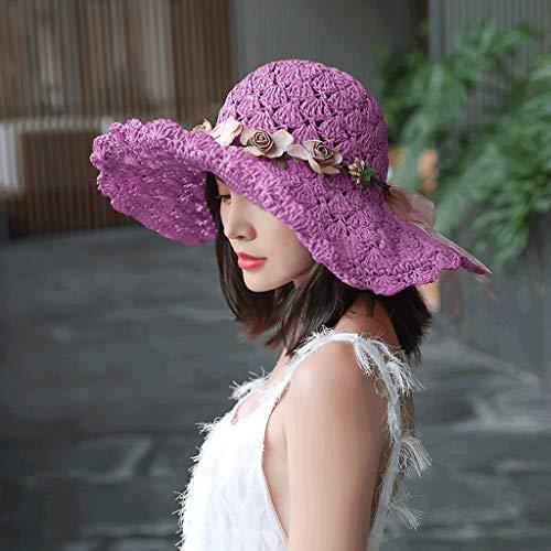 SPNEC Sombrero de Mujer Versión de Verano de Corea del sombrilla Salvaje Sombreros Plegable Flores de Moda Sombrero de Paja Sombrero de Sol Gorra de Playa (Color : C)