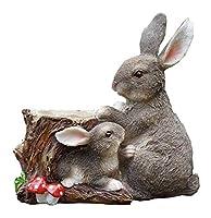 ガーデン 置物 ガーデンオーナメント ガーデン装飾アウトドアかわいい樹脂バニー樹脂フラワーポットパッケージの庭の装飾動物屋外親子ウサギアメリカンカントリースタイルの装飾