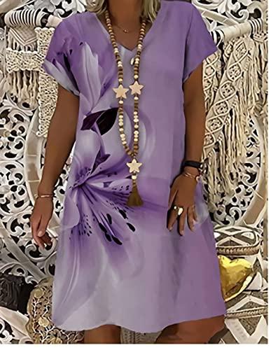 GRGFG Vestidos para Mujer Verano, Mujeres Flores Púrpuras Impresión 3D Cuello En V Manga Corta Más El Tamaño Maxi Vestido Swing Falda Fiesta De Verano Bata De Todos Los Días Playa