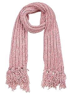 Leslii Damen-Schal Chenille-Schal kuscheliger Strick-Schal weicher Winter-Schal rosa Fransen-Schal in Rosa Pastell