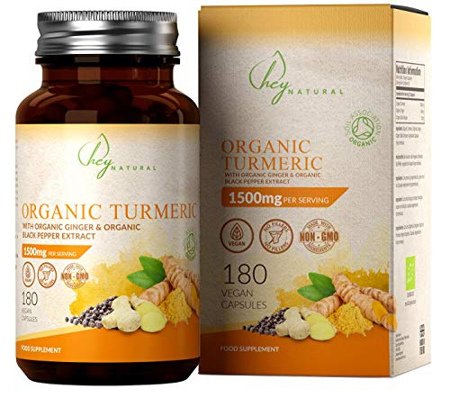 HN Organic Turmeric Curcumin | 180 Vegan Capsules with No Fillers | High Strength 1500mg Per Serving | Added Organic Ginger and Black Pepper | Organic Soil Association Certified and Made in The UK