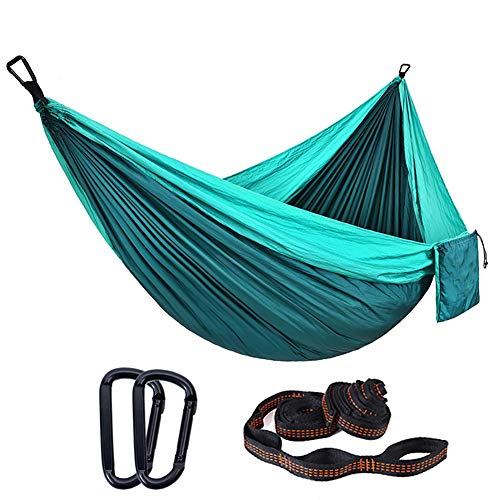 XXCLZ Double Portable Lightweight with 200kg Load Capacity,2 Person Hammock with 100% Parachute Nylon,Camping Hammocks for Indoor Outdoor Garden Travelling,Blue