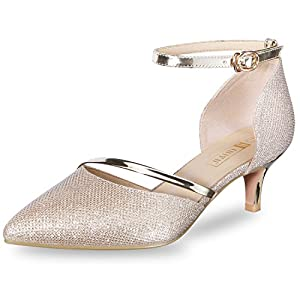 CUTE KITTEN HEELS & OBLIQUE STRAP DESIGN: With 2 inches kitten heel and sexy pointed toe, these pumps combines wedding and daily-wear elements and it is perfect for your daily match and wedding. Especially the strap detail crosses the foot fully show...