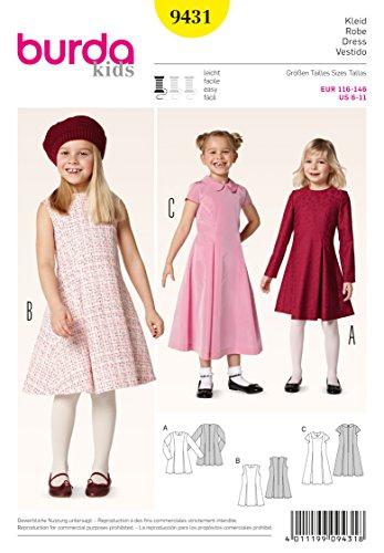 Burda 9431 Schnittmuster Kleid mit Kellerfalten (kids, Gr. 116 - 146) Level 2 leicht