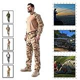Photo de YILIFA Uniforme de Combat Tactique Militaire, vêtements de Montagne en Plein air, Soldier Assault Battle Suit Set - Tops + Pants,Arid,L par