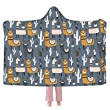 Alpaca No Prob-Llama and Cactus Hoodie Blanket Wearable Throw Blankets for Couch Blanket Hooded for Baby Kids Men Women
