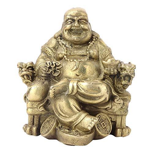 Liukouu Feng Shui Buda Maitreya Chino LatóN Sentado Sonriente Maitreya Buda Lucky Wealth Ornamento DecoracióN De La P