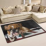 Use7 Teppich mit englischer Bulldogge, britische Flagge, rutschfest, für Wohnzimmer, Schlafzimmer, 50 x 80 cm
